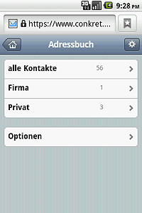 Overview of the address book