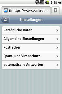 Multiple settings for mail, spam and virus protection